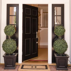 front door with welcome mat and welcoming entry way