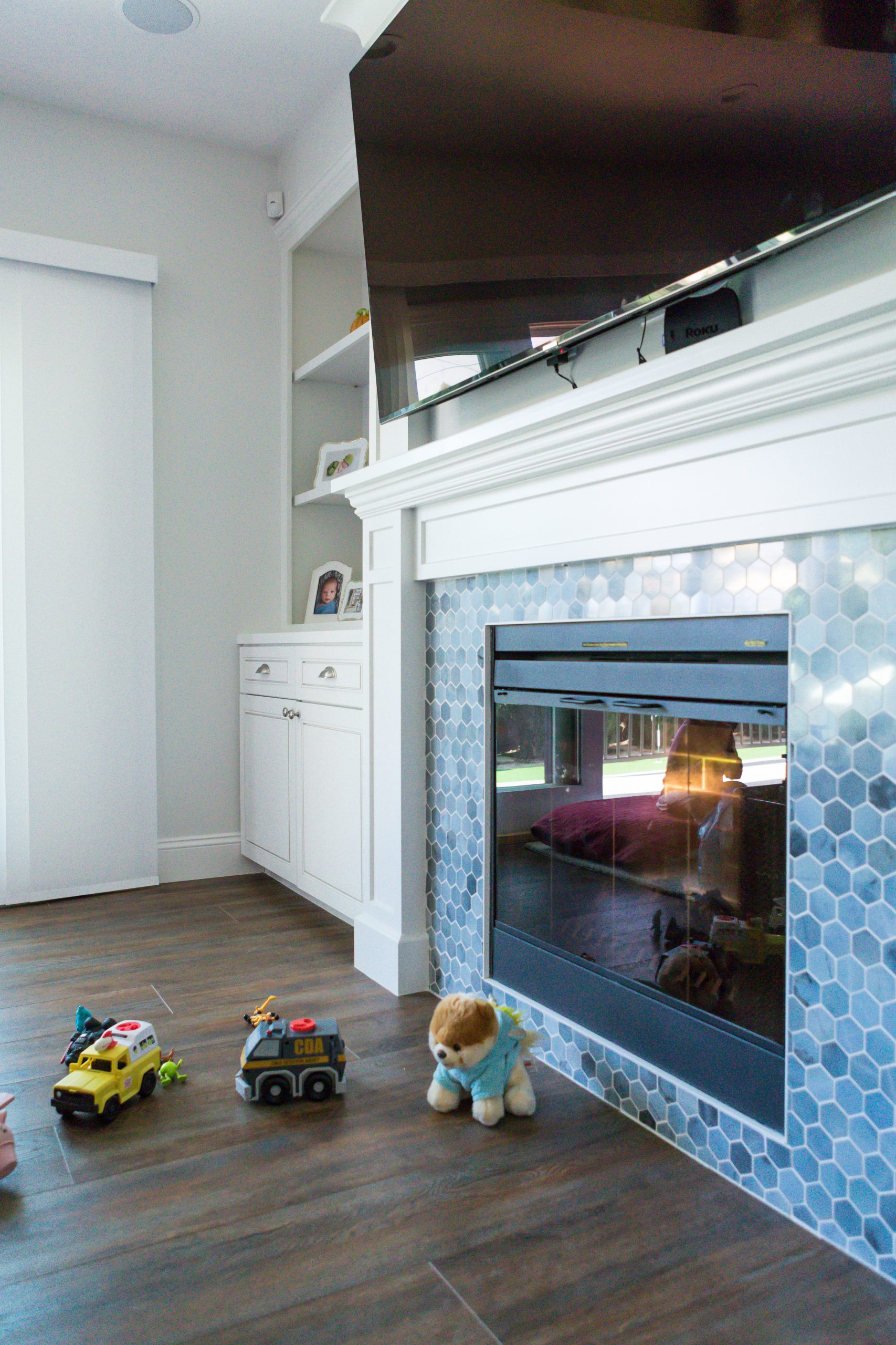 closeup of custom-designed fireplace and mantle